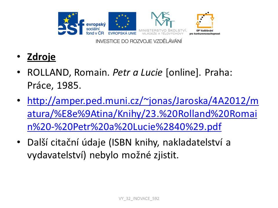 ROLLAND, Romain. Petr a Lucie [online]. Praha: Práce, 1985.